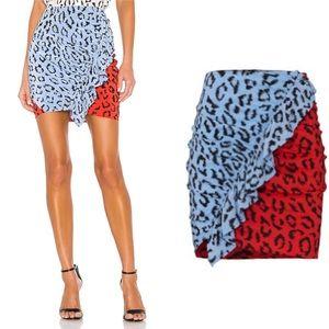 NWT A.L.C. Geller Printed Two-Tone Ruffle Skirt